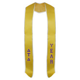 2018 Gold Graduation Stole w/White Trim-Greek Letters Tackle Twill Stacked