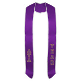 2018 Purple Graduation Stole w/White Trim-Greek Letters Tackle Twill Stacked