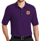 Purple Easycare Pique Polo-Badge