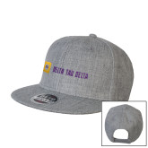 Heather Grey Wool Blend Flat Bill Snapback Hat-Horizontal Signature