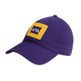 Purple Twill Unstructured Low Profile Hat-Badge