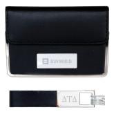 Business Card Case and Key Ring Set Black-Horizontal Signature Engraved