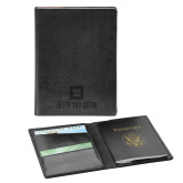 Fabrizio Black RFID Passport Holder-Stacked Signature Engraved