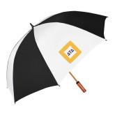 62 Inch Black/White Vented Umbrella-Badge