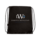 Black Drawstring Backpack-University Combination Mark Stacked
