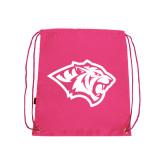 Pink Drawstring Backpack-Tiger Head