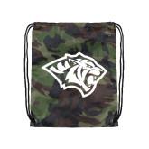 Camo Drawstring Backpack-Tiger Head