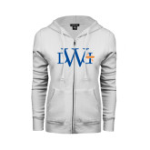 ENZA Ladies White Fleece Full Zip Hoodie-University Mark