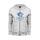 ENZA Ladies White Fleece Full Zip Hoodie-DWU Tigers w/ Tiger Head