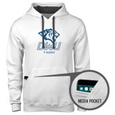 Contemporary Sofspun White Hoodie-DWU Tigers w/ Tiger Head