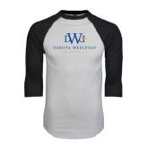 White/Black Raglan Baseball T-Shirt-University Combination Mark Stacked