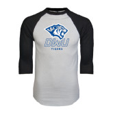 White/Black Raglan Baseball T-Shirt-DWU Tigers w/ Tiger Head