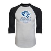 White/Black Raglan Baseball T-Shirt-DWU Tigers w/ Tiger Head