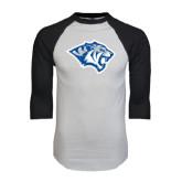 White/Black Raglan Baseball T-Shirt-Tiger Head Distressed