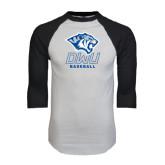 White/Black Raglan Baseball T-Shirt-Baseball