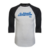 White/Black Raglan Baseball T-Shirt-Softball Script