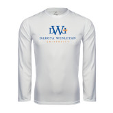 Performance White Longsleeve Shirt-University Combination Mark Stacked
