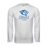 Performance White Longsleeve Shirt-DWU Tigers w/ Tiger Head