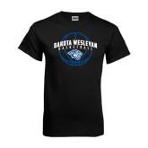 Black T Shirt-Basketball Arched w/ Ball