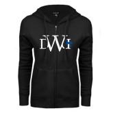 ENZA Ladies Black Fleece Full Zip Hoodie-University Mark