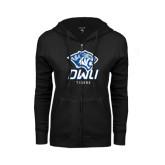 ENZA Ladies Black Fleece Full Zip Hoodie-DWU Tigers w/ Tiger Head