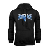 Black Fleece Hoodie-Baseball Arched w/ Crossed Bats