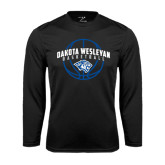 Performance Black Longsleeve Shirt-Basketball Arched w/ Ball