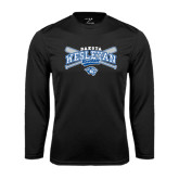 Performance Black Longsleeve Shirt-Baseball Arched w/ Crossed Bats
