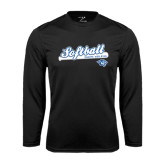 Performance Black Longsleeve Shirt-Softball Script