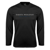 Performance Black Longsleeve Shirt-University Logotype Stacked