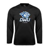 Performance Black Longsleeve Shirt-DWU Tigers w/ Tiger Head