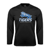 Performance Black Longsleeve Shirt-Tigers w/ Full Tiger