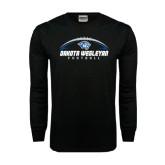 Black Long Sleeve TShirt-Dakota Wesleyan Football Horizontal