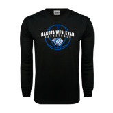 Black Long Sleeve TShirt-Basketball Arched w/ Ball