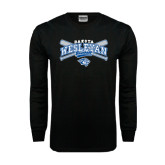 Black Long Sleeve TShirt-Baseball Arched w/ Crossed Bats
