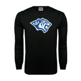 Black Long Sleeve TShirt-Tiger Head Distressed