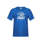 Youth Royal T Shirt-DWU Tigers w/ Tiger Head