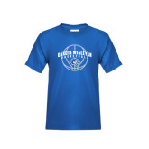 Youth Royal T Shirt-Basketball Arched w/ Ball