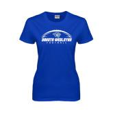 Ladies Royal T Shirt-Dakota Wesleyan Football Horizontal