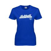 Ladies Royal T Shirt-Softball Script