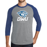 Grey/Royal Heather Tri Blend Baseball Raglan-DWU Tigers w/ Tiger Head