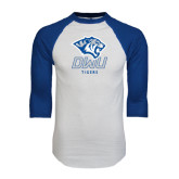 White/Royal Raglan Baseball T Shirt-DWU Tigers w/ Tiger Head