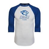 White/Royal Raglan Baseball T Shirt-DWU Tigers w/ Tiger Head