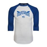 White/Royal Raglan Baseball T Shirt-Baseball Arched w/ Crossed Bats