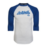 White/Royal Raglan Baseball T Shirt-Softball Script