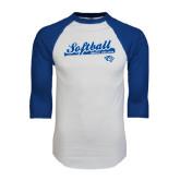 White/Royal Raglan Baseball T Shirt-Softball Script