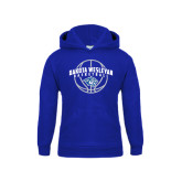 Youth Royal Fleece Hoodie-Basketball Arched w/ Ball