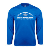 Performance Royal Longsleeve Shirt-Dakota Wesleyan Football Horizontal