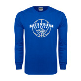 Royal Long Sleeve T Shirt-Basketball Arched w/ Ball