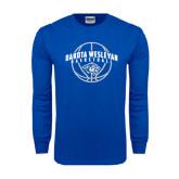 Royal Long Sleeve T Shirt-Basketball Arched w/ Ball